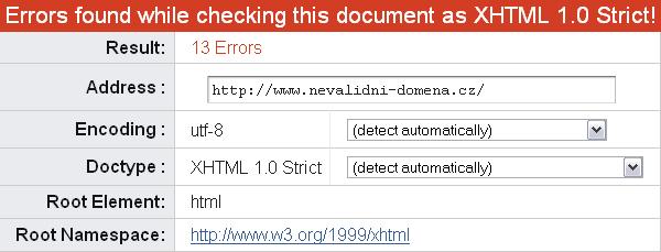 Nevalidní web dle W3C