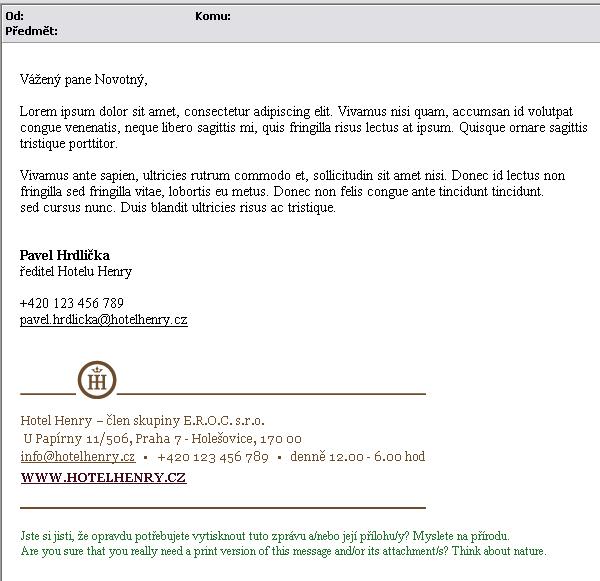 E-mailový podpis Hotel Henry