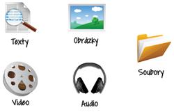 Ikona texty, obrázky, video, audio, soubory