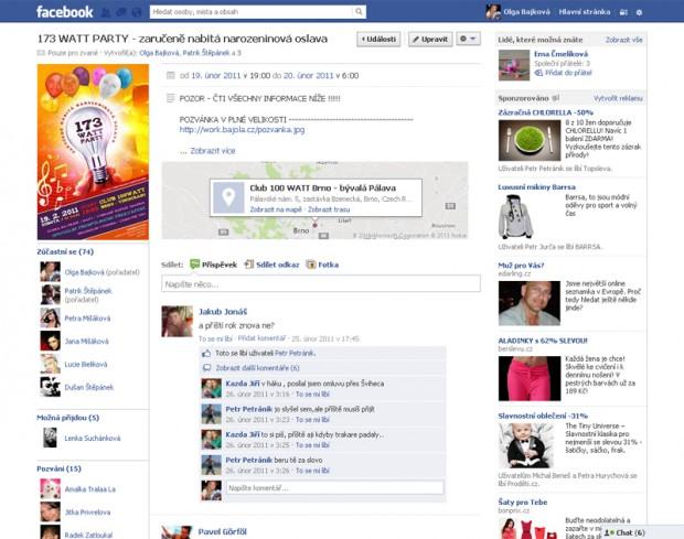 Facebook pozvánka na oslavu narozenin