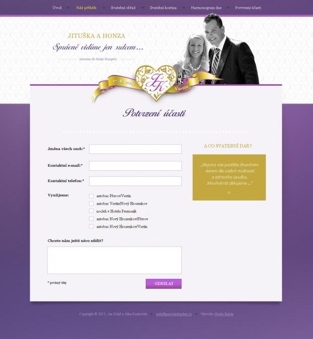 Formulář - potvrzení účasti na svatbě