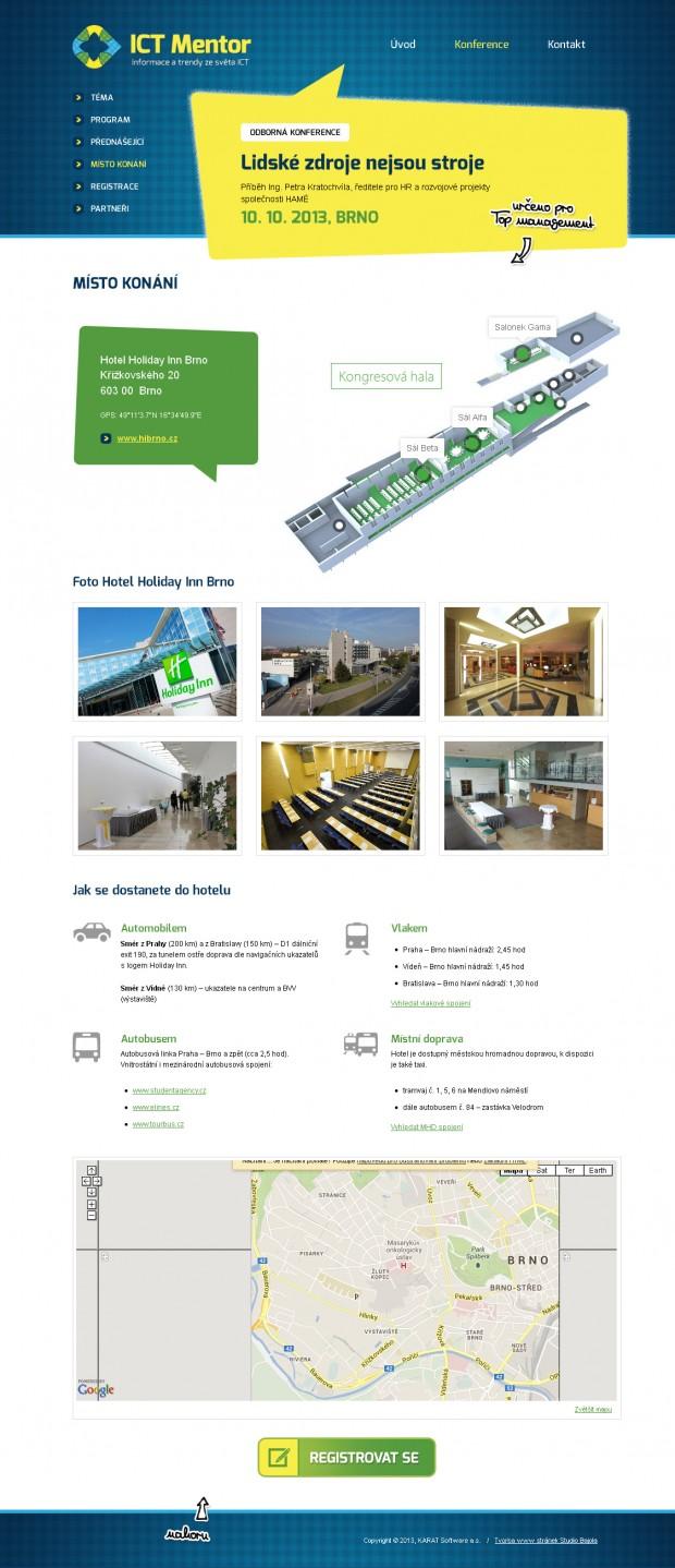 Grafický návrh webu ICT Mentor - stránka Místo konání