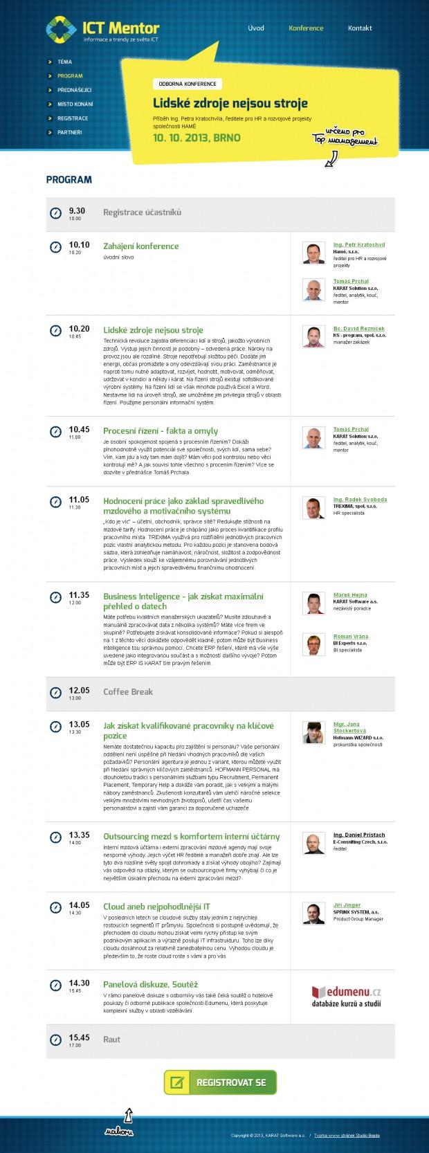 Grafický návrh webu ICT Mentor - stránka Program