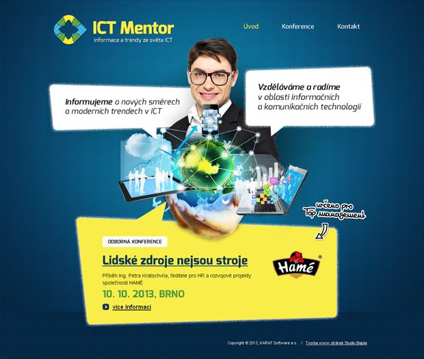Grafický návrh webu ICT Mentor - stránka Úvod