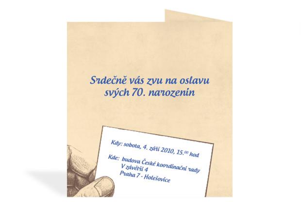 Rozkládací pozvánka na 70. narozeniny - zadní strana