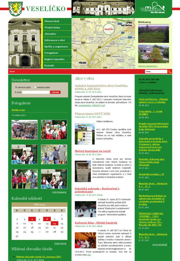 Předchozí verze webu obce Veselíčko