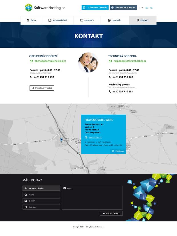 Responzivní design pro webové stránky Softwarehosting - kontakt