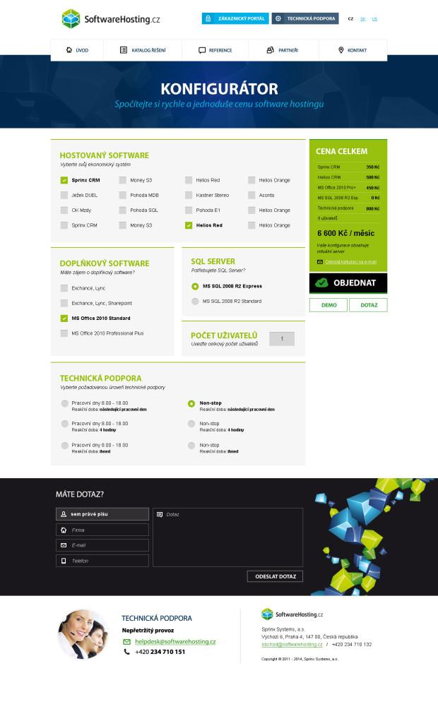 Responzivní design pro webové stránky Softwarehosting - kalkulátor
