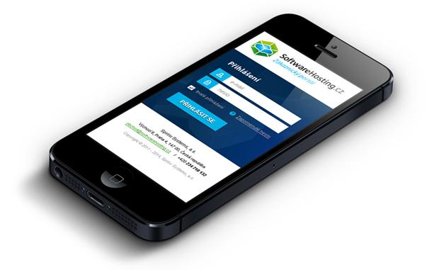 Responzivní design pro klientské rozhraní Softwarehosting - zobrazení na iPhonu