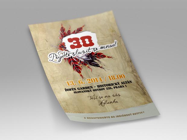 Pozvánka na 30. narozeniny indiánský styl