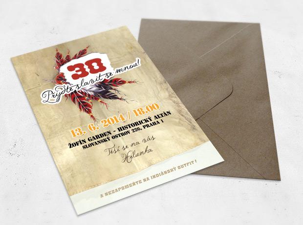 Pozvánka na 30. narozeniny s hnědou obálkou