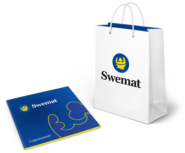 Logomanuál Swemat a ukázka aplikace loga na papírové tašce