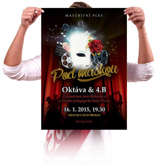 Grafický návrh plakátu na maturitní ples