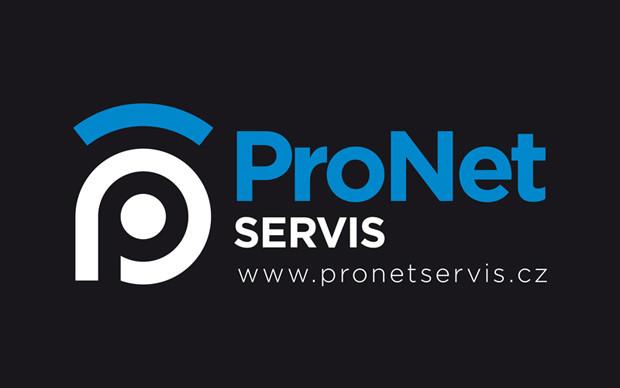 Grafický návrh loga Pronet Servis - inverzní varianta