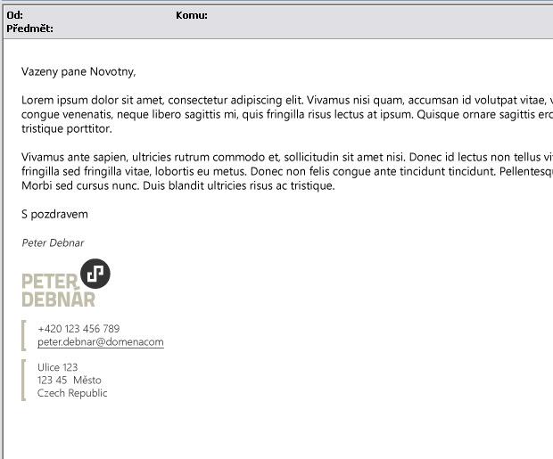Grafický návrh osobního e-mailového podpisu Peter Debnár