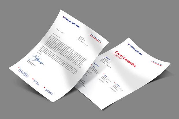 Grafický návrh hlavičkového papíru a cenové nabídky společnosti Transigma