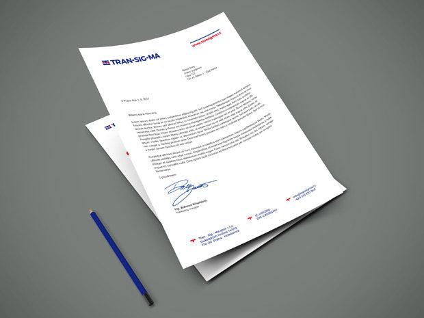 Grafický návrh hlavičkového papíru do obálky s okénkem společnosti Transigma