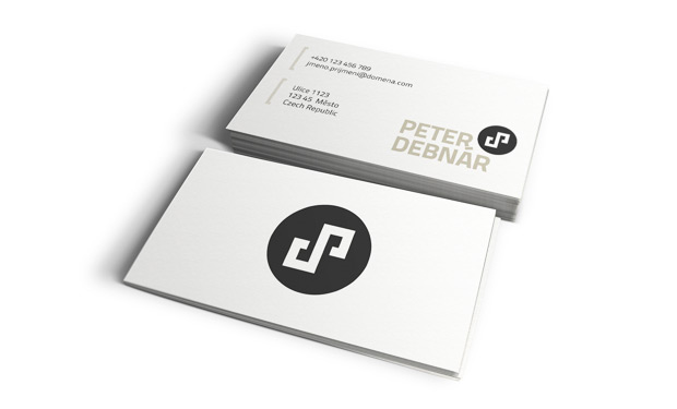 Oboustranná osobní vizitka Peter Debnár iniciály - grafický návrh
