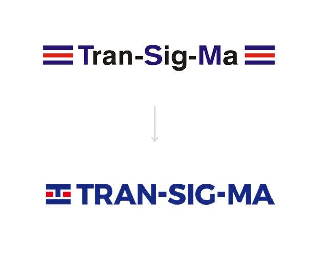 Redesign loga Transigma - původní a nové logo
