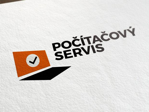 Aplikace loga Počítačový servis na papír