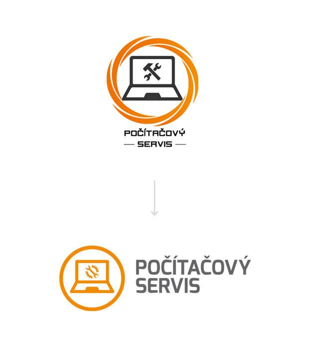 Původní logo Počítačový servis a grafický návrh faceliftu loga